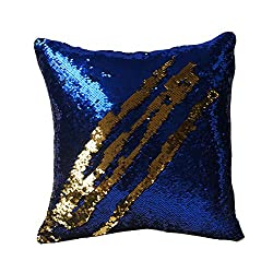 Fengheshun Reversible Sequins Pillowcase Mermaid Pillow Covers 40×40 cm Two Color Changing (Sapphire Blue+Gold)