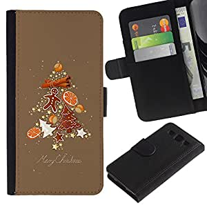 iKiki Tech / Cartera Funda Carcasa - Tree Christmas Spruce Brown Gingerbread - Samsung Galaxy S3 I9300