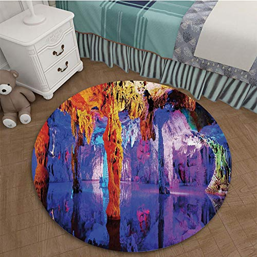 Bedroom Area Rugs Coffee Table Floor Mat Tile Floor Cover Indoor Outdoor Mat 3.28 Ft Diameter Natural Cave Decorations,Rock Formation on Algarve Coast Seascape and Cliffs Fantasy Serene Scenery,Cream ()
