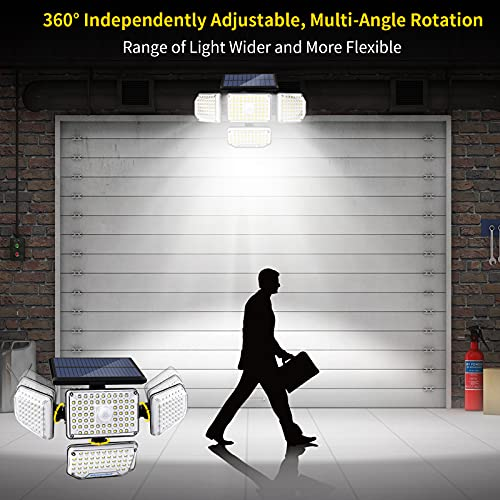 morpilot Solar Lights Outdoor, 214LED 1500lM Wireless Motion Sensor Solar Security Light, 360°Wide Angle Illumination, IP65 Waterproof LED Flood Lights for Garden Fence Yard Patio Garage