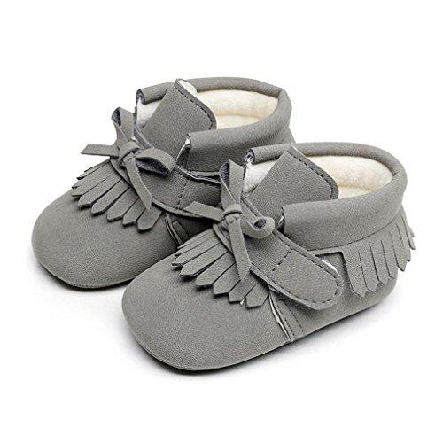 BZLine® Baby Jungen Mädchen Krippe Winter Stiefel Prewalker Warme Martin Schuhe Grau