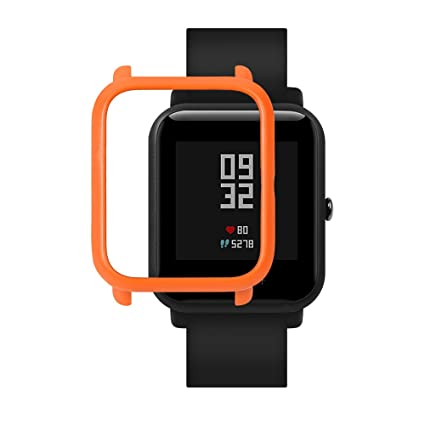 SIKAI Bumper Case Cover for Amazfit Bip Smart Watch Protective Anti-Scratch Colorful PC Cover for Huami Amazfit Bip Smart Watch (Orange)