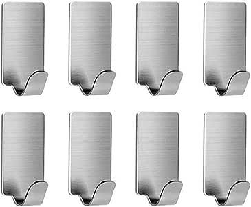 Self Adhesive Hooks, VanStar 8 Pack 304 Stainless Steel Wall Hanger Hat Hooks Rack for Kitchen Bathroom Office Closet - Waterproof, No Drill Glue Needed