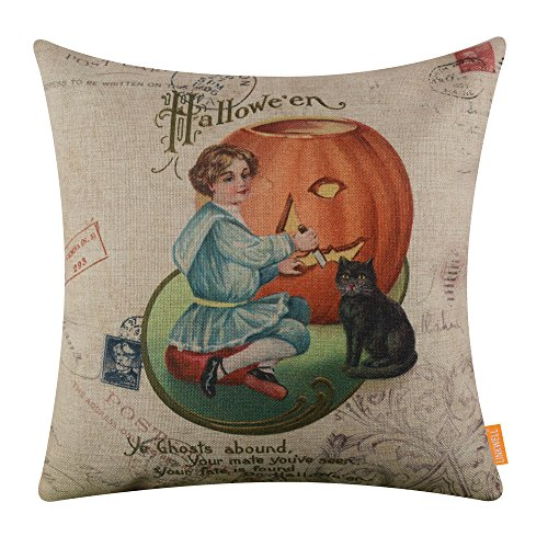LINKWELL 18x18 inches Happy Halloween Black Cat and Pumpkin Burlap Throw Cushion Cover Pillowcase -