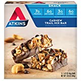 Atkins Snack Bar, Cashew Trail Mix, 5 Bars (Pack of 6)