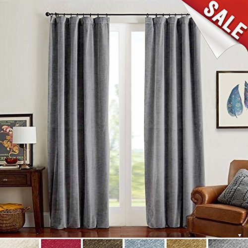 jinchan Grey Velvet Curtains Half Blackout Drapes for Bedroom, Rod Pocket Thermal Insulated (1 Panel, 84