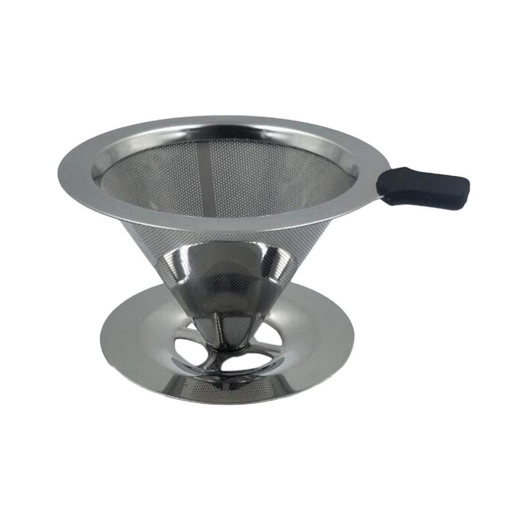 BESTONZON ステンレススチール コーヒーフィルター 再利用可能 注ぎ口 コーヒーフィルター コーン カップスタンド付き (103x90x65mm)   B07HL4N93C