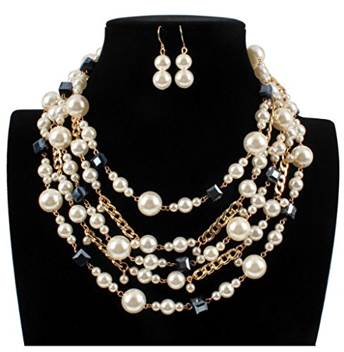 Shineland Elegant luxury Simulated 5-laryered Multi-Strand Pearl,Glass Bead And Alloy Chain Cluster Collar Bib Choker Necklace Earring Sets