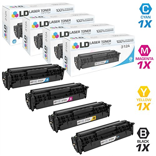 LD © Compatible Replacements for HP 312X / 312A Set of 4 Toner Cartridges (Black, Cyan, Magenta & Yellow) for use in LaserJet, Color LaserJet & LaserJet Pro: MFP M476dn, MFP M476dw, MFP M476nw