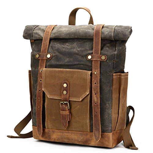 xiaodiu Tuch Tasche tragbar Wasserdicht Rucksack Öl Wachs Pack Travel Herren Rucksack Vintage Leder Leinwand Tasche, Lake Blau