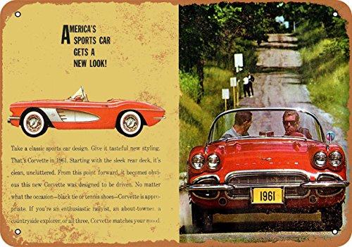 Wall-Color 9 x 12 Metal Sign - 1961 Chevrolet Corvette - Vintage Look