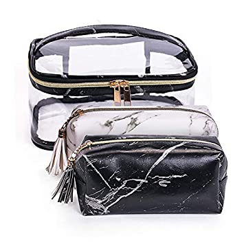 54aba0c6673d4a Amazon.com : Joyful 3pcs Marble Travel Cosmetic Bag Set Clear Makeup Bag  Cosmetic Pouch Set Marble Makeup Bag Pouch (Color D) : Beauty
