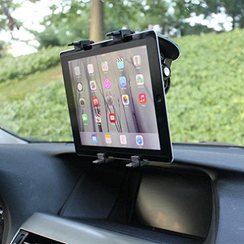 - Multi-Angle Rotating Car Mount Windshield Holder Stand Window Glass Swivel Cradle Suction Black for iPad 4, Air, 2, Mini, 2, 3, 4, Pro 9.7 - LG G Pad 10.1 7.0 8.0 8.3 F 8.0 - Verizon Ellipsis 7, 8