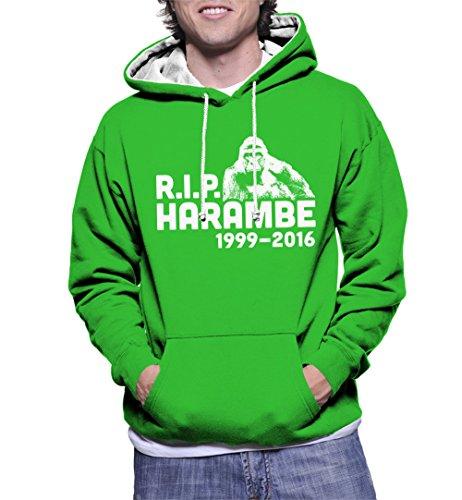 HAASE UNLIMITED Mens RIP Harambe Two Tone Hoodie Sweatshirt (2XL, Kelly Green/White -