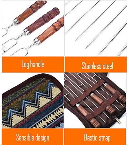 5 Pcs BBQ en Acier Inoxydable BBQ Brochette Plat Barbecue Fourchette en Bois Poignée Skewaer Camping en Plein Air Voyage Ensembles Various