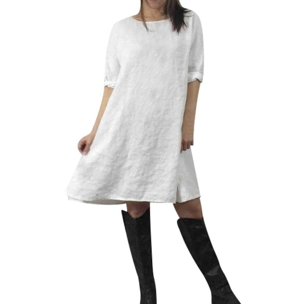 Zaidern Women Dress Women's O Neck Slim fit Solid Half Sleeve Ladies Casual Dresses White