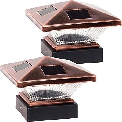 "2 Pack GreenLighting Siena 6 x 6 Solar Post Cap Light for 4"" x 4"" Nominal Wood Posts"