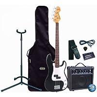 Encore E4 4 String Electric Bass Guitar Outfit with BB 10W Amplifier - Black - EBP-E4BLK