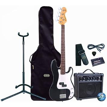 Encore E4 de 4 cuerdas de la guitarra el bajo eléctrico de traje con BB 10 W del amplificador de libre, negro: Amazon.es: Instrumentos musicales