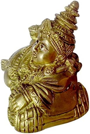 BHARAT HAAT Statue Lord Kuber Dhan Bhandari with Excellent Carving Work Brass Metal BH00120