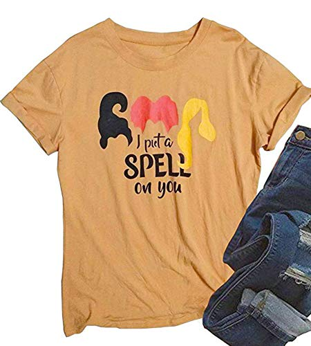 ALLTB I Put A Spell on You Witch Costume T Shirt Halloween Funny Short Sleeve Hocus Pocus Shirt Tops (Orange, XL)
