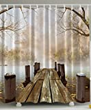 Shower Curtain Collection by Ambesonne, Ocean Decor Fall Wooden Bridge Seasons Lake House Nature Country Rustic Home Art Paintings Pictures for Bathroom Seascape Decorations, Brown Beige Khaki Yellow ()