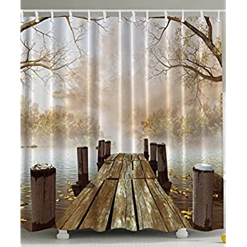 Shower Curtain Collection By Ambesonne, Ocean Decor Fall Wooden Bridge  Seasons Lake House Nature Country Rustic Home Art Paintings Pictures For  Bathroom ...