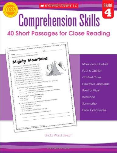 Comprehension Skills: Short Passages for Close Reading: Grade 4