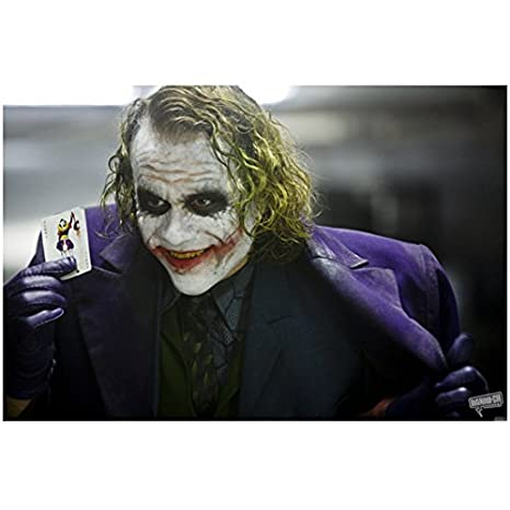 Heath Ledger as The Joker in The Dark Knight Holding His