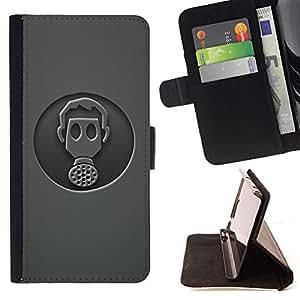 BullDog Case - FOR/Samsung Galaxy S4 Mini i9190 / - / Minimalist Gasmask /- Monedero de cuero de la PU Llevar cubierta de la caja con el ID Credit Card Slots Flip funda de cuer