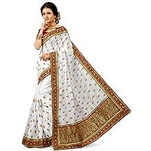 Crazy Bachat Presents New Indian Ethnic Design White Sari Free Blouse