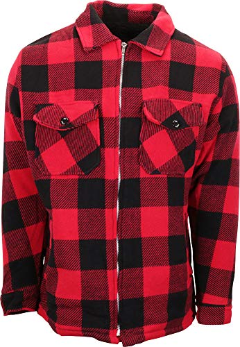 - Woodland Supply Co. Men's Wool Blend Sherpa Fleece Lined Zip-Up Jacket (X-Large, Red Buffalo Plaid)