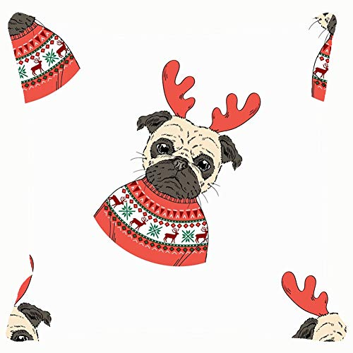 """Large beach pants Throw Pillow Covers Christmas Pug Doggy Animals Wildlife Design Cotton Linen Cushion Cover Cases Pillowcases Sofa Home Decor 18""""x 18""""Inch (45 x 45cm) from Large beach pants"""