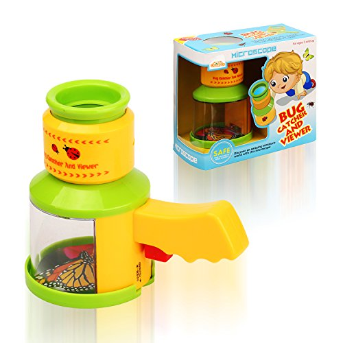 QuadPro Bug Catcher and Viewer for Kids Outdoor Toys Insect Magnifier Microscope Catching Kit Children Preschool STEM toys for Boys and (Bug House Kit)