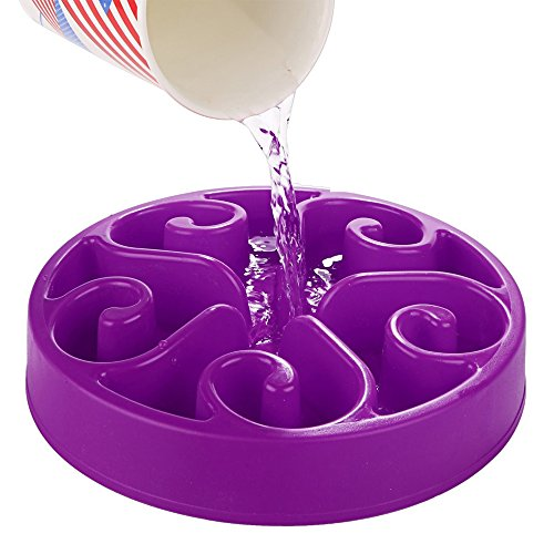 Ootdpet Purple Eco-friendly Non-Toxic Slow Down Eating Fun Foraging Dog Bowl