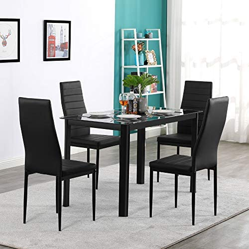 Goujxcy 5 Piece Kitchen Dining Table Set Modern Dining Table Set with Tempered Glass Top Table and 4pcs PU Leather Chair Set Home Kitchen Dining Room Furniture 5 Piece Black