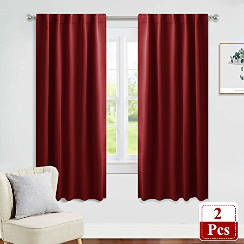 - PONY DANCE Bedroom Window Panels - Christmas Decoration Blackout Curtains Elegant Back Tab Slot Pocket Curtains Thermal Insulated Energy Efficient Home Decoration, 42 x 63 Inch, Red, One Pair