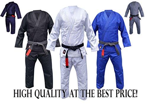 Your Jiu Jitsu Gear Brazilian Jiu Jitsu Black,Blue,White and Grey BJJ Uniform (A3lightweight, White)