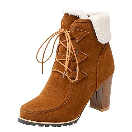 Mee Shoes Damen chunky heels runde Schnürsenkel kurzschaft Stiefel Braun