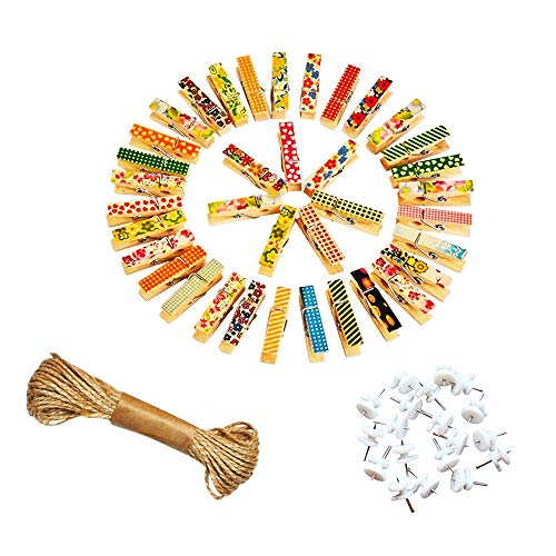 Postcard Pin - ZONYEO 100 PCS Wooden Photo Clips w/Jute Twine Nails Wall Décor Wood Clothespins Craft Pins Pegs Scrapbooking Postcard Art Work Display - Painted