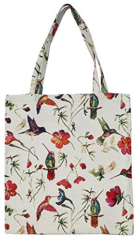 (Signare Tapestry Reusable Grocery Eco Friendly Shopping Tote Bag in Floral and Bird Design (Hummingbird))
