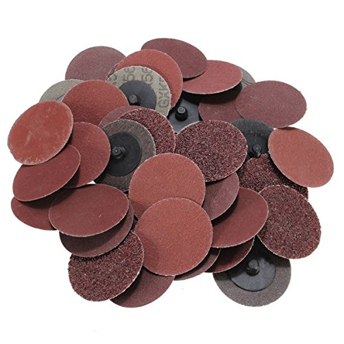 Letbo New 40pcs 2 Inch 36/80/180/240 Grit R Type Roll Lock Sanding Abrasive Disc Roll Lock Coarse Lbg