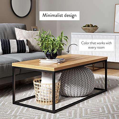 Nathan James 31102 Doxa Modern Industrial Coffee Table Wood and Metal Box Frame, Light Brown/Black