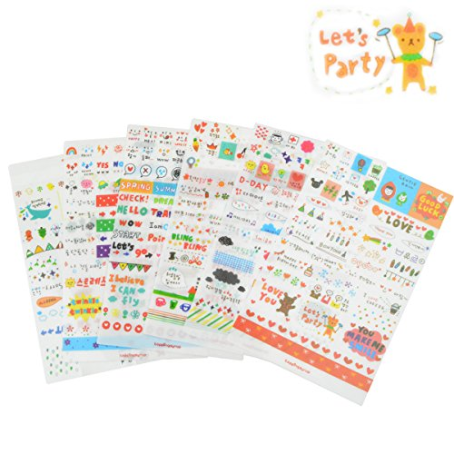 6 Sheets Craft Sticker, Marrywindix Tech Decorative Scrapbooking Diary Album Sticker (Stationary Stickers)