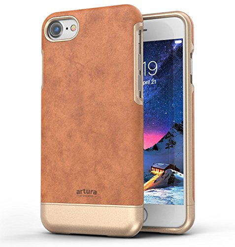 (Encased Artura Compatible to iPhone 7 PU Leather Case - Premium Vegan Collection Phone Cover (Camel Brown/Gold))