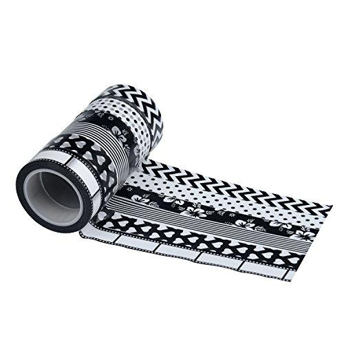 washi-masking-tape-set-of-6-rolls-aottom-decorative-tapes-craft-diy-sticker-heart-flower-black