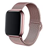BMBEAR Compatible with Watch Band 38mm Stainless Steel Mesh Magnetic Replacement Wrist Band for watch Series 3 Series 2 Series 1 Rose Gold