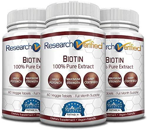 Research Verified Biotin – Pure Biotin Extra Strength 10,000mcg for Improved Hair, Skin and Nail Health - 180 Vegan Tablets, Made in USA