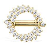 14K Gold Internally Threaded Nipple Ring Shield, 14K Yellow Gold, Priced And Sold In Pairs