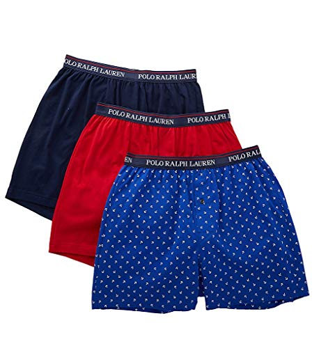 Polo Ralph Lauren Men's 3-Pack Knit Boxers Cruise Royal/White Anchors/Rl2000 Red/Cruise Navy Large